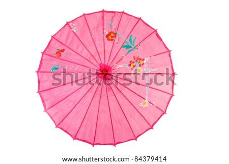 Pink asian umbrella - stock photo