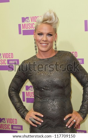 Pink at the 2012 Video Music Awards Arrivals, Staples Center, Los Angeles, CA 09-06-12 - stock photo