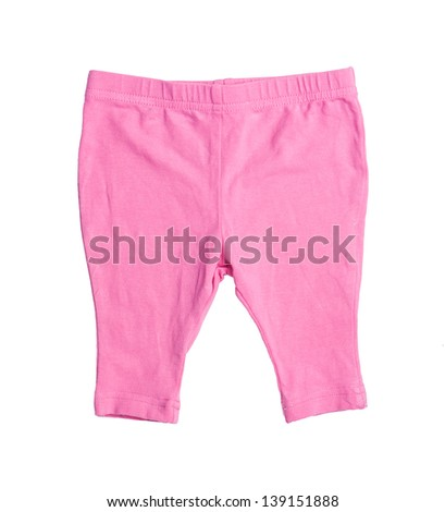 pink baby pants on over the white - stock photo