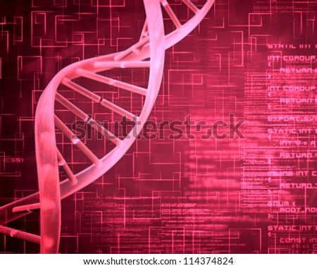 Pink background DNA Helix squares and text - stock photo