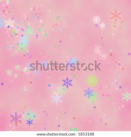 Pink background with fun mystical snowflakes. - stock photo