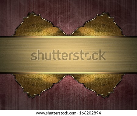 Pink background with gold accents and gold plate. Design template - stock photo