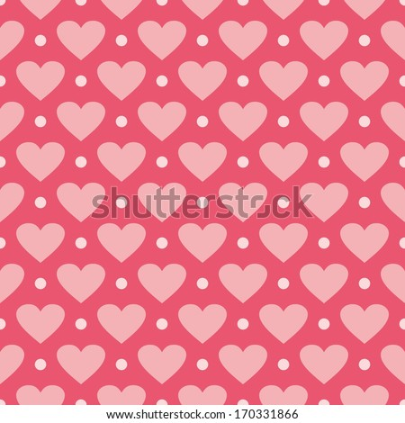 Pink Background With Hearts And Polka Dots Cute Seamless Pattern For Valentines Desktop Wallpaper Or