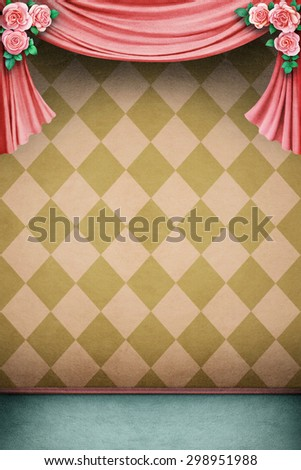 Pink background with pastel curtains and roses - stock photo