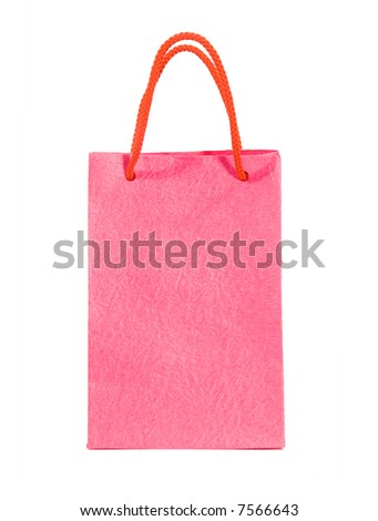 Pink bag isolated on white (clipping path) - stock photo