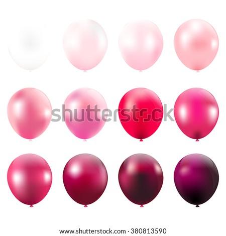 Pink Balloons Card - stock photo