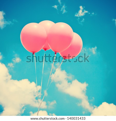 Pink Balloons on Blue Green Sky