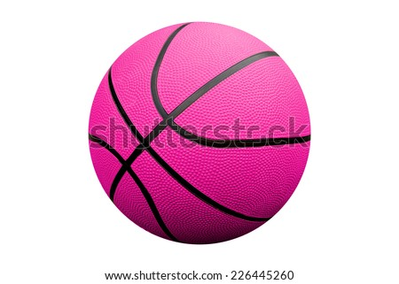 Pink Basketball isolated over a white background with a clipping path - stock photo