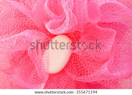 Pink bath puff - stock photo