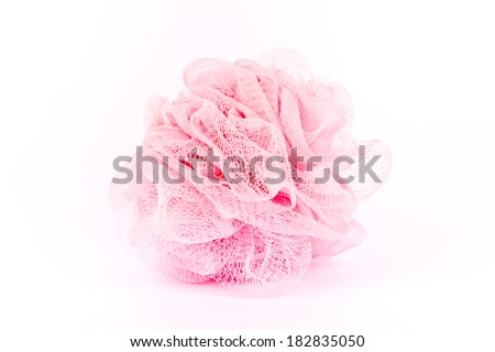 Pink bath sponge - stock photo