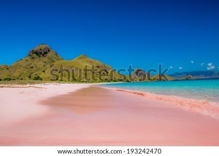 Pink Beach, Padar Island, Komodo Flores, Indonesia - stock photo