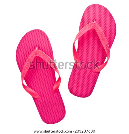 pink beach sandals flip flops  isolated on white background - stock photo