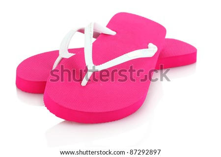 pink beach shoes isolated on white - stock photo
