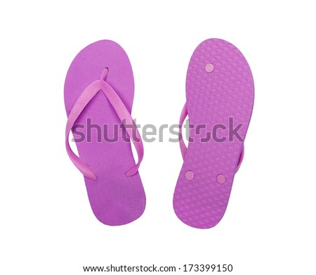 pink beach shoes isolated on white background - stock photo