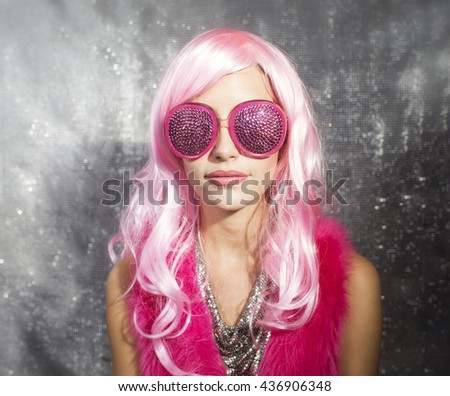 pink beauty ready to party - stock photo