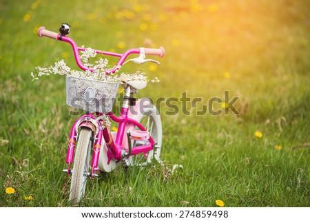 Pink bike for children in a green garden - stock photo