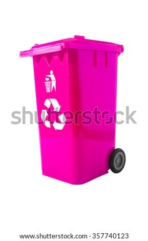 Pink Bin, Trash Bin with recycle logo isolated on white with path.