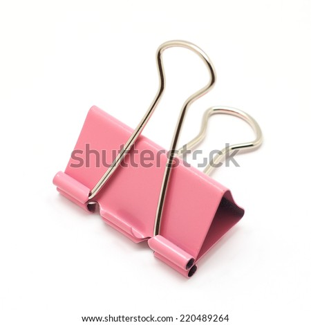 pink binder clip isolated on white background