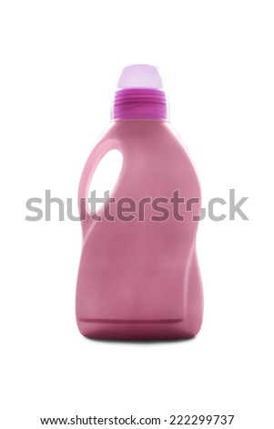 Pink blank household chemicals bottle isolated over white