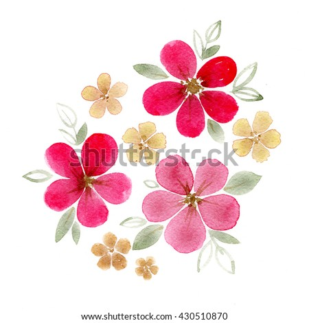 Pink blossom flowers. Colorful illustration in watercolor paintings.  - stock photo
