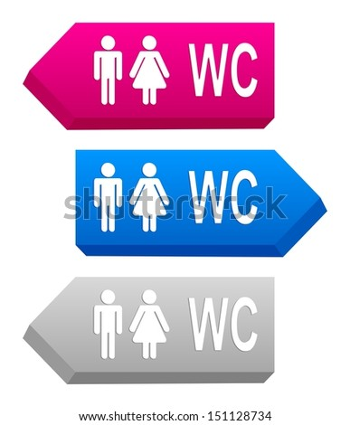 pink, blue and gray 3D signs with toilet symbols