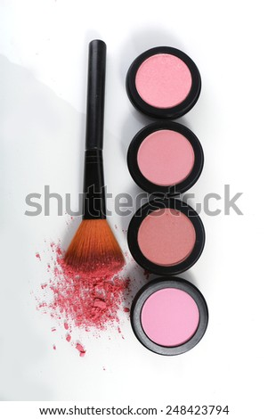Pink Blush Sets on White Background - stock photo
