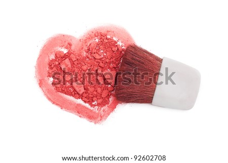 Pink blush with brush and heart isolated on white