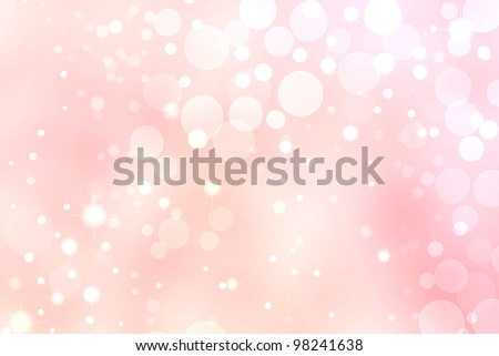 Pink Bokeh Background, White Circle and Star Lights - stock photo