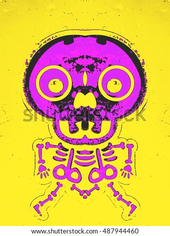 pink bone structure and skull with yellow background