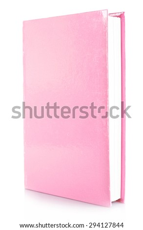 Pink book isolated on white - stock photo