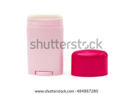 Pink bottle with deodorant isolated on white
