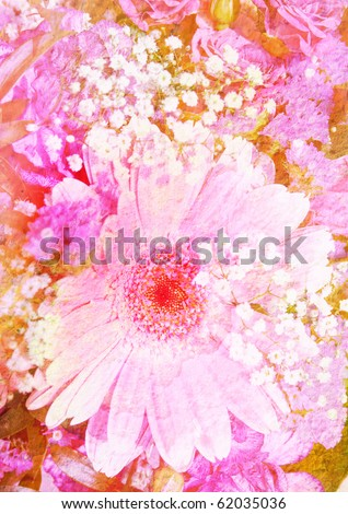 pink bouquet - vintage stylized floral picture with patina texture - stock photo