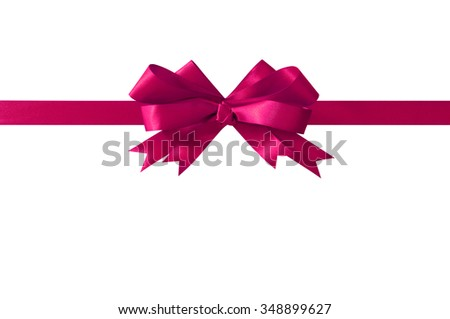 Pink bow gift ribbon straight horizontal