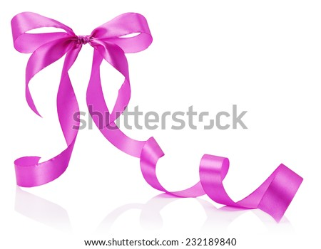 pink bow isolated on the white background