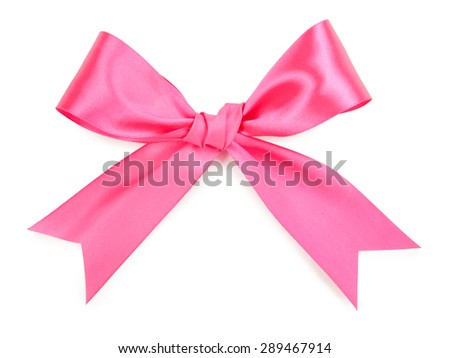 Pink bow isolated on white background. - stock photo