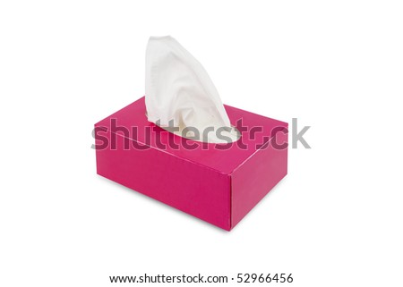 Pink box of handkerchief - stock photo