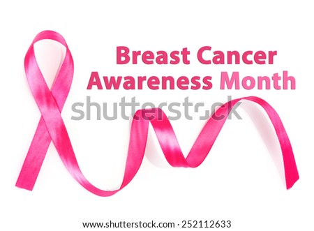 Pink breast cancer ribbon isolated on white, Breast Cancer Awareness Month Concept