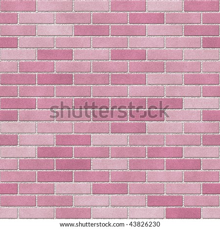 Pink brick wall seamless texture with white mortar. - stock photo