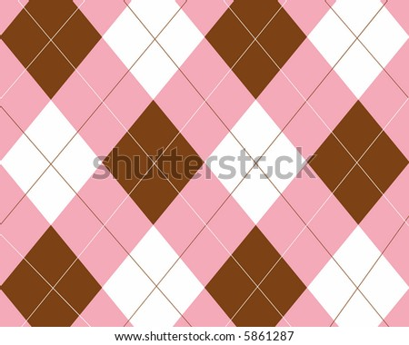 Pink, brown and white argyle
