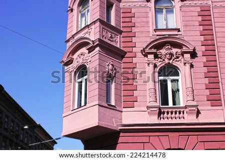 pink building - stock photo