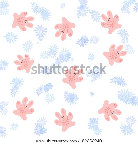 pink bunnies on white with blue flowers illustration - stock photo
