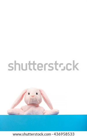 Pink bunny doll on the edge of the blue white background, except for the copy space.