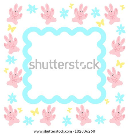 pink bunny frame with blue flowers and yellow butterflies illustration - stock photo