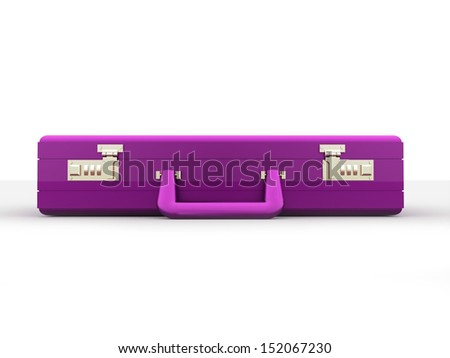 Pink business case on white background - stock photo