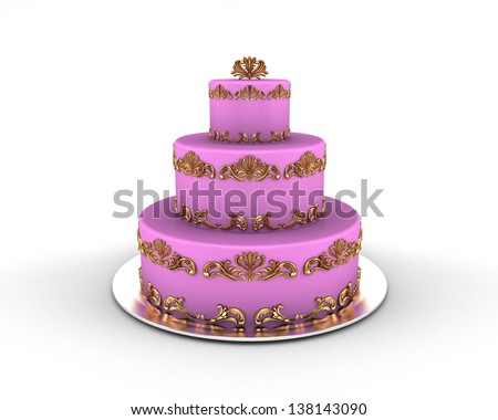 Pink cake on three floors with gold ornaments on it isolated on white background - stock photo