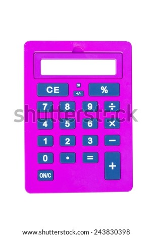 pink calculator isolated on white background with white space on the screen - stock photo