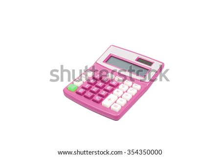 Pink calculator on a white background - stock photo