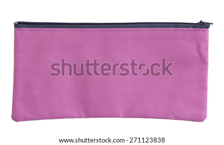 pink canvas bag isolated on white with clipping path - stock photo
