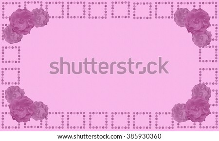 Pink canvas texture Mothers Day Digital Writing Paper Background with rose flower border and copyspace - stock photo