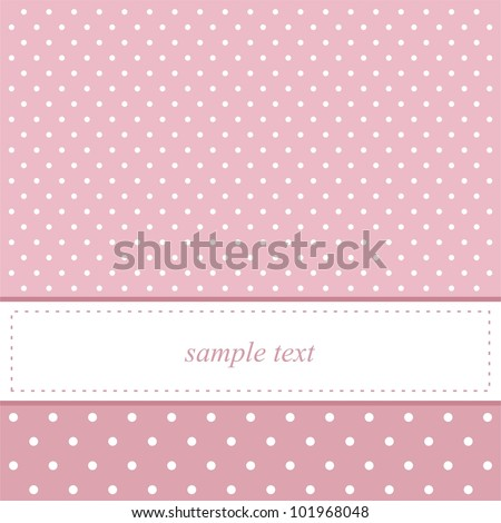 Pink card invitation for baby shower or birthday party with white polka dots. Cute background with white space to put your own text. - stock photo